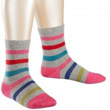 Falke Kinder Streifen Socke - grau