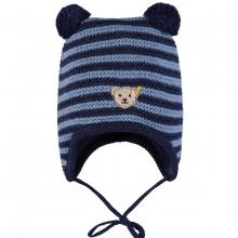 Steiff Baby Strick-Mütze, gestreift - blau