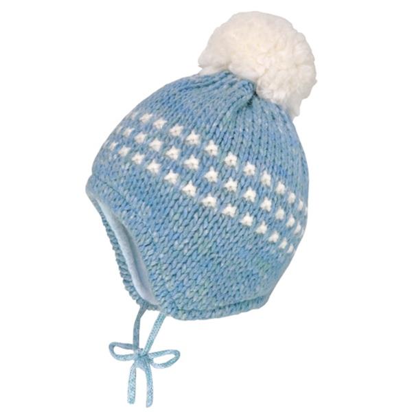Maximo Baby Strick Mütze, weißer Bommel