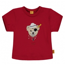 Steiff Baby T-Shirt Ju.Piratenbärenkopf - rubinrot