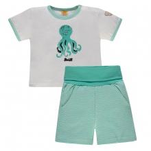 Steiff Baby 2tlg.T-Shirt+Shorts Ju.Krake - grün