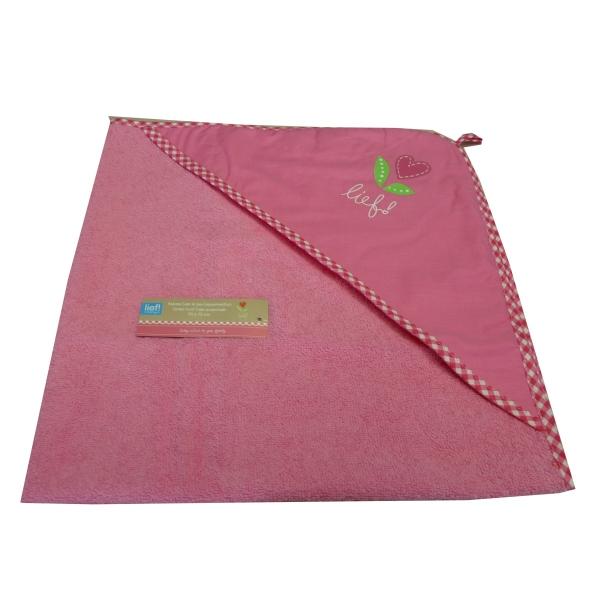 Lief! Handtuch mit Kapuze rosa Herzblume