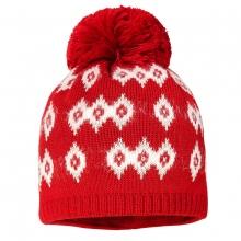 Maximo Strick Mütze weiß rot Bommel
