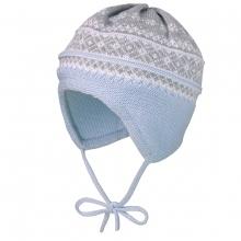 Maximo Baby Strick Mütze hellblau-grau