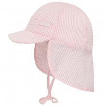 Döll Bindemütze mit Nackenschutz kariert - rosa
