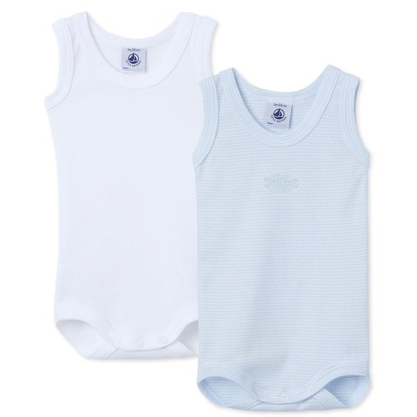 Petit Bateau Ju Body blau/weiß,2er Pack.