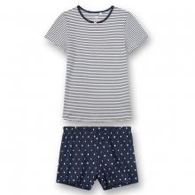 Sanetta Pyjama kurz Blau Ringel