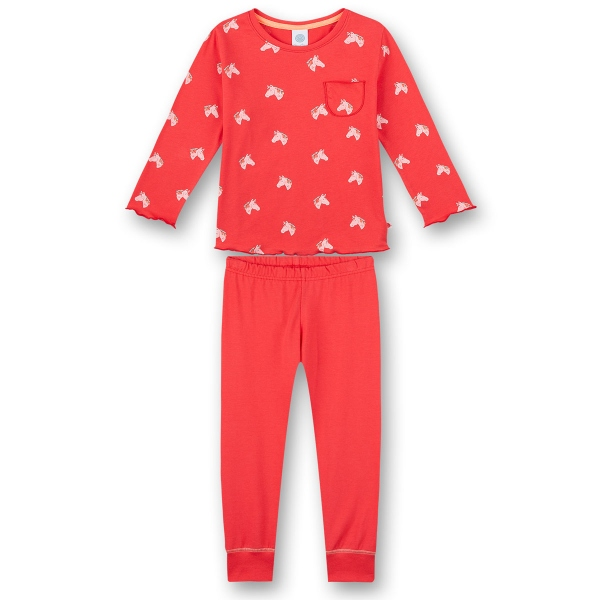 Sanetta Pyjama lang Mäd. rot Pferde