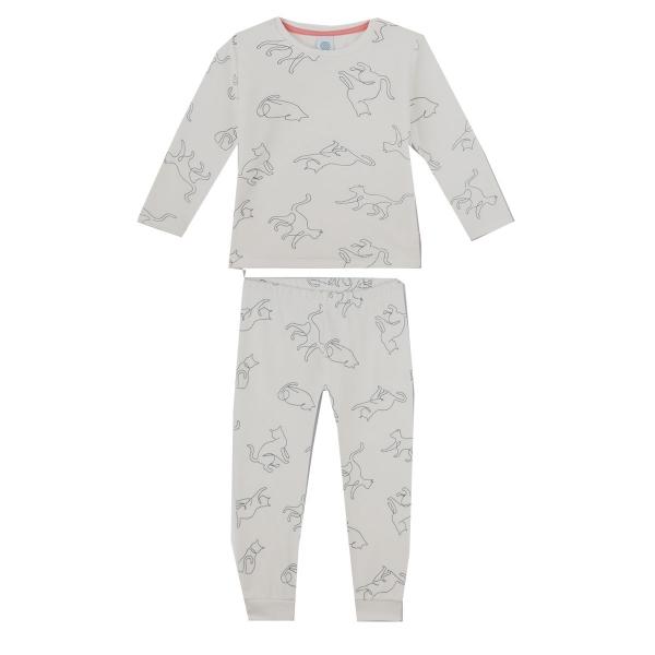 Sanetta Pyjama lang Mäd Allover-Katzen