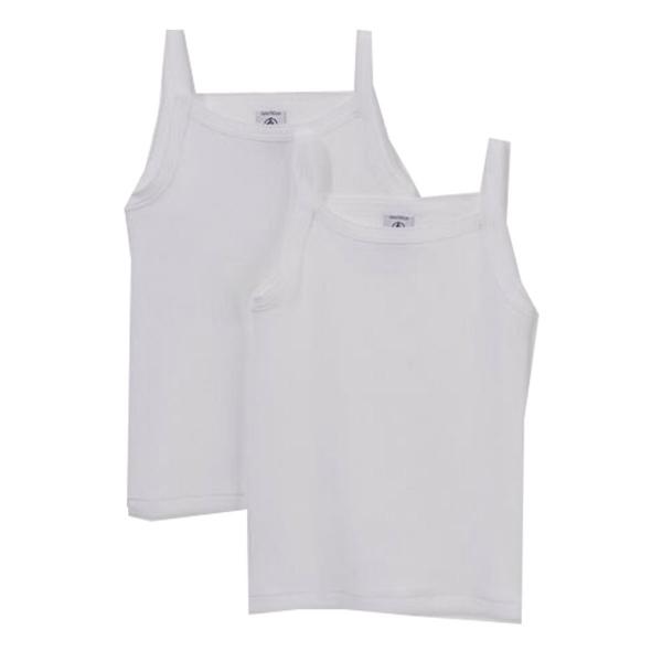 Petit Bateau Unterhemd 2er Mäd. weiß